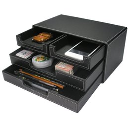 Organizer Storage Drawers Canada - PU Leather Black Storage Boxes Cosmetic Jewelry Organizer Office Storage Drawer Desk Makeup Brush Lipstick Remote Control Holder