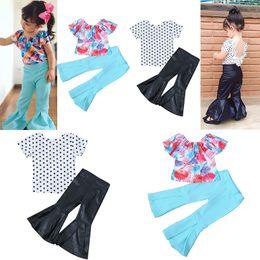 Wholesale lotus t shirts online – design Baby Lotus leaf collar outfits girls shell Dot print t shirts top PU Flare pants set fashion kids Clothing Sets C4697