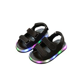 White Infant Sandals UK - causal baby sandals shoes cute LED lighted flat toddler beach shoes for 1-3yrs baby newborn infant outdoor causal Summer shoes