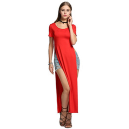 Chinese  Sexy ladies t shirt dress Summer Casual Dress Long Tee Dress Gypsy T-shirt Open On The Sides Dresses manufacturers
