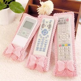 types textiles 2021 - 3 sizes Cute Bowknot Design Dustproof TV Remote Control Case Air condition Remote Control Cover Textile Protective Bag