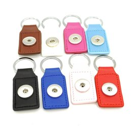 leather snap keychain Australia - Fashion 8 colors PU Leather Snap Button Keychain Snap Key Rings fit DIY 18MM Snap Jewelry
