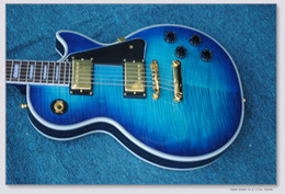 Mahogany veneer guitar online shopping - In stock Electric Guitar with Blue Color Body Gold Hardware and Quilted Maple Veneer can be Customized