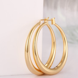 Wholesale Copper Hoop Earrings Canada - Every Day Women Jewelry Classic Simple Hoop Earrings Free Allergy Copper 18K Gold Fill 2pcs A Mazon Hot Sell