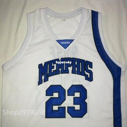 cb81aeb3da71 Cheap custom DERRICK ROSE Memphis Tigers White Black Blue Basketball Jersey  Embroidery Stitched Customize any size and name