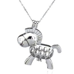 Donkey penDant online shopping - Silver Beauty Cute Horse Donkey Hollow Oil Diffuser Locket Women Aromatherapy Beads Pearl Oyster Cage Necklace Pendant Boutique gift