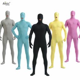 $enCountryForm.capitalKeyWord Australia - Ainclu Men Spandex Nylon Lycra Black Full Body Second Skin Tight Color Custom Skin Suit Open Mouth Cosplay Costume Zentai