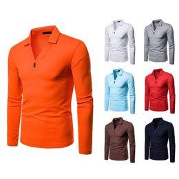 $enCountryForm.capitalKeyWord NZ - Hot Shipping Men's Polo Shirts Long-Sleeve T Shirts V- Neck Cotton Blend Polo Shirts New Design Top Tees Personality Shirt Men Free Shipping