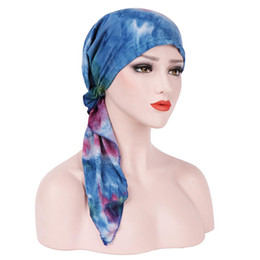 Tie Dye Hair UK - Big Tail Tie-Dyed Curved Muslim Headgear Cancer Hats Chemo Cap Muslim Hair Loss Head Scarf Turban Lack Blue Headwrap New 2018