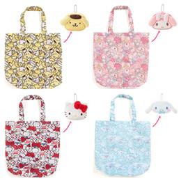 Cartoon Foldable Shopping Tote Australia - Cute Cartoon Hello Kitty My Meloday Folding Reusable Shopping Bag Eco Friendly Tote Bag Foldable Shopper Grocery Bags Handbag