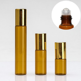 $enCountryForm.capitalKeyWord Canada - Amber 3ML 5ML 10ML Rollon Bottle For Essential Oils Stainless Steel Roller Refillable Perfume Bottle Deodorant Containers with Gold Lid