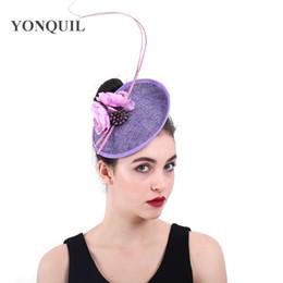 $enCountryForm.capitalKeyWord NZ - Women Fabric Flower Purple Fascinators Hat Bridal Fancy Feather Hair Clips Fascinator Wedding Headwear Elegant Ladies Headdress SYF382