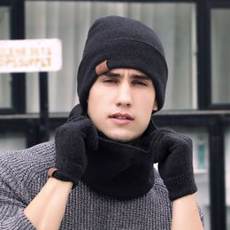 9846800e8 Men & Women 3pcs Knitted Hat Gloves Scarf Set Winter Soft Warm Hiking Cap  Scarves Sets Outdoor Accessories NY075