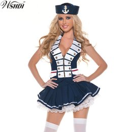 Sexy Adult Woman Costumes Canada - Women Sexy Cute Sailor Costume Nautical Marine Navy Costumes Adult Halloween Party Fancy Dress Cosplay Sailor Game Uniforms