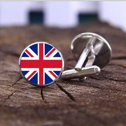 Wholesale Gemstone cuff England jewelry Chile UK national pattern flag creative style Cuff Links