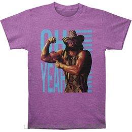 Ingrosso Magliette da uomo Top Magliette da fitness cotone manica corta Macho Man Maglietta da uomo Oh Yeah Purple Tri Blend