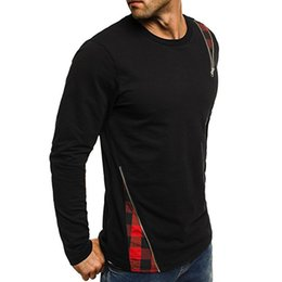 Mens long bottoM t shirt online shopping - Homme Spring Summer New Mens Character Patchwork Crew Neck Long Sleeve T shirt High Street Bottom Shirt