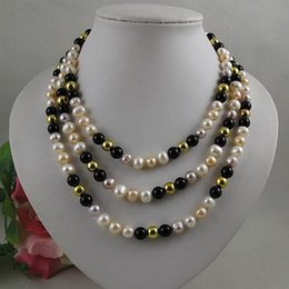 $enCountryForm.capitalKeyWord Canada - Unique Pearls jewellery Store,Natural Color White Pink Purple Freshwater Pearl Black Agates Necklace,150cm Long Jewellery