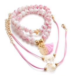 $enCountryForm.capitalKeyWord Australia - 4pcs set PINK Braided bracelet beads handwear Charm tropical Pineapple BeadS Strands Shell Bracelet Beach wear holiday bohemian Jewelry