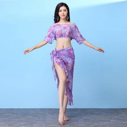 5d89d00a9c 2018 New Women Belly Dance Clothing Training Outfits Girls Practice Costume  Bellydance Top Skirt 2pcs Floral dress