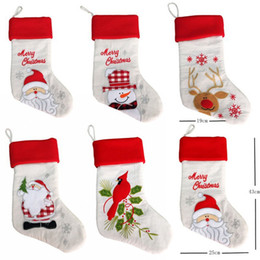 santa stocking holders 2019 - 20-inch Christmas gift bag stockings linen embroidery style Santa Claus Xmas Stocking Holders decoration New Year Decor