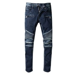 $enCountryForm.capitalKeyWord UK - Retro Vintage Designer Fashion Mens Jeans Dark Blue Slim Fit Spliced Cargo Pants High Street Robin Jeans For Men Biker Rock Revival Jeans