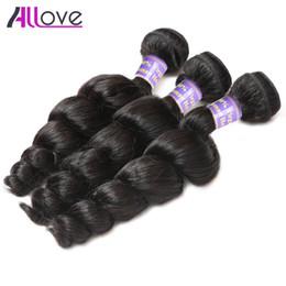 Best cheap hair waves online shopping - Allove Best A Loose Wave Bundles Brazilian Hair Peruvian Loose Wave Cheap Malaysian Human Hair Extensions Indian Price