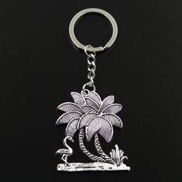 51 cars 2019 - Keychain 51*42mm flamingo crane oconut tree Pendants DIY Men Jewelry Car Key Chain Ring Holder Souvenir For Gift cheap 5