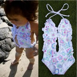 swimming suit one piece 2019 - Fashion Girls Baby Clothing Bikini White Floral Split One-pieces Swimsuit Bathing Suit Swimming Clothes 1-6T B11 discoun