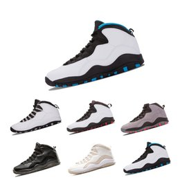 d935491384cd Wholesale New 10 10s Mens Basketball Shoes Classic back White Black Cool  Grey Bobcats Chicago Steel Grey 10s Sports Sneakers Shoes Size 8-13