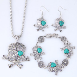 skeleton accessories Australia - Vintage Retro Fashion Accessories Jewelry Sets Turquoise Dreamcatcher Heart Skull Skeleton Dangle Earrings Chokers Necklaces Bracelets Women
