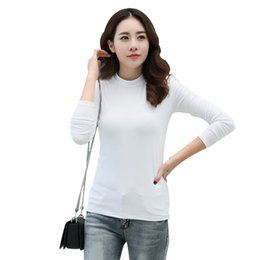 long crew neck tee Canada - Tide women TShirts Europe Russia New Autumn warm Crew Neck blue green Solid Color Long Sleeve TShirt Rayon lady slim casual Cotton Tees