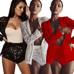 women long lace cardigan NZ - 2018 Women Sexy Lace 2pc Pants Set Flower Embroidered Long Sleeve Cardigan Top Hot Pants Suit See Through Club Party Two Piece Outfits