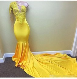 Elastic Satin Prom Dresses NZ - Sexy Yellow One shoulder Long Sleeve Black Girls Prom Dresses 2018 Appliques Lace Evening Dress Elastic Satin Mermaid African Party Gowns