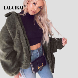 White Short Sleeve Faux Fur Australia - LALAIKAI High Street Teddy Fur Coat Women Turn Down Collar Winter Warm Faux Fur Jacket Ladies 5 Colors Wool Outwears SWA2282-47 S112