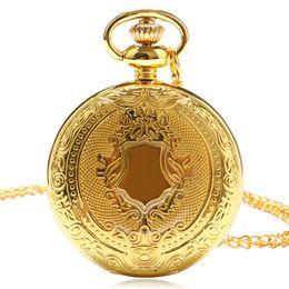 $enCountryForm.capitalKeyWord UK - Vintage Retro Men Women Dress Gold Shield Round Case Quartz Pocket Watch with Chain Gift Box Fob Watches