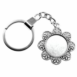 anchor cabochon 2021 - 6 Pieces Key Chain Women Key Rings Car Keychain For Keys Flower Single Side Inner Size 20mm Round Cabochon Cameo Base Tray Bezel Blank