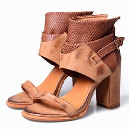 Brown Peep Toe Gladiator Sandals UK - Retro Rome Style Women Platform Sandals Women Sexy Peep Toe Thick High Heels Dress Shoes Woman Soft Leather Summer Women Pumps