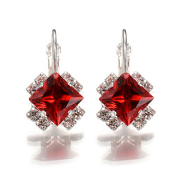 Copper hoop earrings small online shopping - Geometric Square Austrian Crystal Hoop Earrings Vintage Silver Statement Earrings For Women Cheap Small Boho Brincos