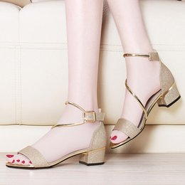 $enCountryForm.capitalKeyWord Canada - Sale!~fashion designer women size 34 40 genuine leather beige silver thick heel sandals high quality ankle strap shoes