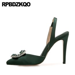 Discount rubber crossdresser - Crossdresser High Heels Big Size Pointed Toe 12 44 Women Satin Slingback Thin Green 11 43 Pumps Crystal Silver Shoes Rhi