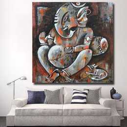 buddha art living room Canada - 1 Pcs Modern Art Lord Ganesha Oil Painting Buddha Wall Art Canvas Painting for Living Room No Frame