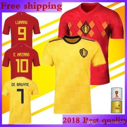2018 world cup E.HAZARD Belgium Soccer Jersey national team Home red away  yellow KOMPANY DE BRUYNE FELLAINI LUKAKU Belgique football shirt 137c2a8cc