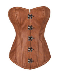 gothic steampunk clothing 2018 - Waist Corsets Leather Steampunk Corselet Gothic Clothing Waist Trainer Lingerie Slimming Party Corsets And Bustiers chea
