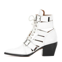 Lace decorations online shopping - New arrival women boots fashion lace up buckle decoration chunky heels sexy pointed toe geninue leather summer ankle booties