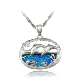 silver dolphin chains UK - HAIMIS Free the Chain Pretty Dolphin Synthetic Blue Fire Opal Women Jewelry Silver Plated Pendant 1 1 8 inch OP416 Free Gift Box