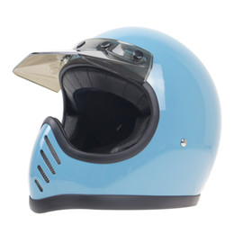 Discount moto professional - Professional MOTO 3 full face helmet 5 pin buckle and with visor full face motorbike helmet Fiberglass shell light and s