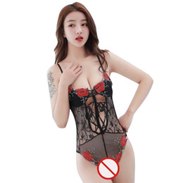 Chinese  Free Shipping New sexy lingerie cosplay Siamese sexy black embroidery rose pajamas red hot adult suit ladies lace transparent retro pajamas manufacturers