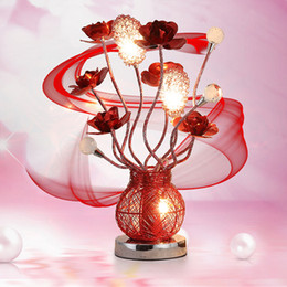 Red Bedside Tables Canada - Bedroom Wedding Room Modern led Table Lamp Bedside Crystal Table Lamp Romantic Red Rose Decoration Desk Lamp Studyroom Livingroom Desk Light