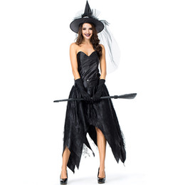 $enCountryForm.capitalKeyWord UK - Black Strapless Witch Dress Women Halloween Role Play Witch Mesh Patchwork Party Dresses Women Cosplay Customers Dress+Cap+Glove